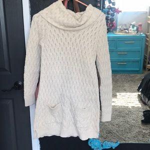 Jeanne Pierre cowl neck sweater dress in cream